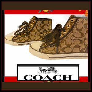 COACH LEATHER HI-Top SIGNATURE Sz 8.5 SNEAKER